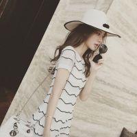 2015夏季新款韩国东大门波浪条纹薄针织镂空修身显瘦短裙连衣裙