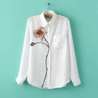 2015春装新款 刘诗诗同款长袖显瘦雪纺一枝花雪纺衬衫女装打底衫