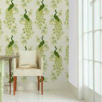 环保无纺纸 仿刺绣简欧风格墙纸 孔雀图案 客厅卧室背景墙壁纸