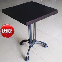 厂家供应古典欧 西式铸铁桌脚方形餐桌 定做餐厅餐桌