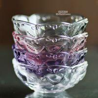 特价杂货出口刻花缤纷爱心浮雕透明玻璃小碗甜品碗酱料碗烟灰缸
