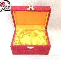 库存处理红麻布雕件盒 文玩把件盒 核桃手把玩盒 礼品包装盒批发