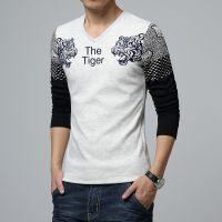 厂家直销冬季男士韩版修身长袖豹头t恤加绒打底衫毛线袖J@@%4835
