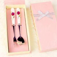 结婚用品批发 可定制LOGO 骨瓷陶瓷手柄叉勺 礼盒 情人节小礼物