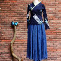 中式棉麻蓝色花禅意改良款唐装汉服禅服茶服