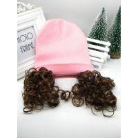 韩国儿童宝宝帽 冬款婴儿毛线帽 新萌款简单带假发儿童毛线帽子