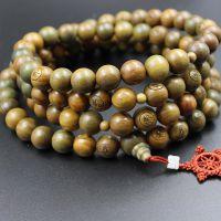 厂家批发绿檀1.5cm*108颗念珠手链刻字念珠佛珠手串男女通用