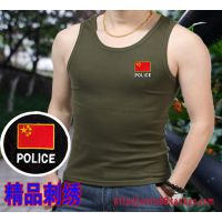 剌绣中国POLICE冰丝背心军迷训练服体能服战术背心迷彩服男