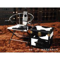上海工厂定制加工北欧风工业复古奶牛皮箱LOFT展示架