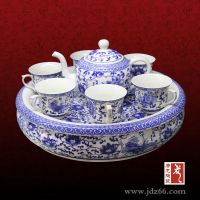 景德镇陶瓷茶具定做 千火陶瓷茶具加logo定制厂家