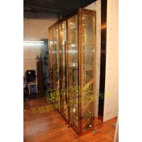 伟煌业厂家直销不锈钢常温酒柜 欧式玫瑰金色酒柜 玻璃层板红酒柜高端定制