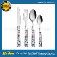 透明塑料柄餐具 不锈钢刀叉勺套装 儿童餐具三件套 西式刀叉