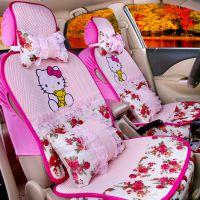 新款夏季冰丝布套kitty汽车坐垫宝马X1 X3 X4 X5 X6宝马1系3系5系
