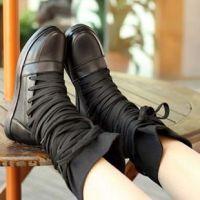女靴直销冬款学生鞋中跟真皮牛皮帆布内增高短靴子女单靴 高筒靴