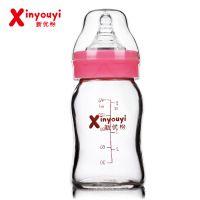 新优怡婴儿用品批发 新款150ml宽口椭圆抗摔玻璃奶瓶厂家批发