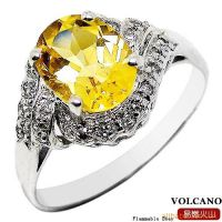 水晶首饰 925银镀白金天然黄水晶戒指SR0017C 韩版饰品批发
