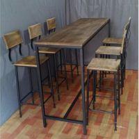吧台桌椅 美式乡村餐厅餐桌 铁艺实木吧台桌椅 吧台桌咖啡厅桌子