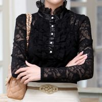 款女装韩版蕾丝长袖高领打底衫公主衫女士 蕾丝上衣送吊带