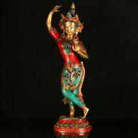 藏传佛教用品批发 尼泊尔佛像 纯铜手工镶嵌绿松石空行母21寸摆件