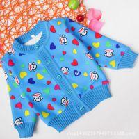 秋季新款儿童加绒加厚小开衫 宝宝针织衫小童外套全棉韩版外贸