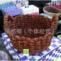植物编织工艺品 草编收纳篮 仿藤编织篮 编织篮 收纳 玉米皮编织