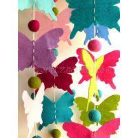 新款家庭装饰创意彩色毛毡蝴蝶-闪光挂件DIY毛毡挂坠