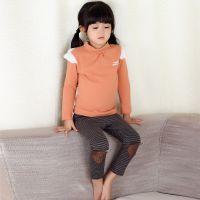 童装批发 韩国小熊冬款女童加厚灰色条纹打底裤 儿童保暖童裤