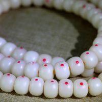 供应正月顺白藏式佛珠 白玉菩提根镶嵌多宝绿松石南红青金石桶珠