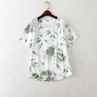 夏装棉麻宽松圆领衬衫 亚麻清新文艺女装上衣大码T恤E214 0.2