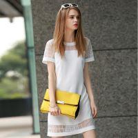 2015夏季欧美风女装新款简洁短袖连衣裙直筒网纱白色连衣裙