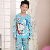 春秋季可爱卡通机器猫男女长袖儿童纯棉睡衣休闲套装童家居服