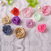 现货直销手工服饰头饰材料 内裤装饰花 缎带玫瑰花免费拿样