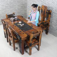 现货茶桌餐桌书桌批发 实木功夫茶几原木大茶桌大班台老船木老板桌
