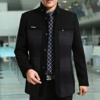 2015秋冬新款利郎男式夹克 中年毛呢夹克外套立领男装加厚茄克衫