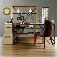 新品推荐 美式复古铁艺餐桌 餐厅家具餐桌椅 做旧长条桌海德利