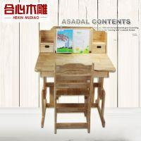 宁津县合心木雕坊 供应学习桌 课桌椅 写字桌 实木 一件起批