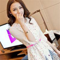 2015春装新款大码女装韩版修身圆领中袖显瘦碎花雪纺连衣裙
