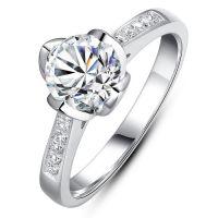 印记950正品1克拉钻戒仿真结婚钻石戒指女订18K莫桑钻一件代发
