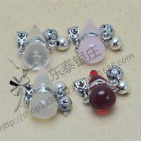s925纯银泰银水晶小葫芦吊坠挂件DIY银饰配件纯银小葫芦批发