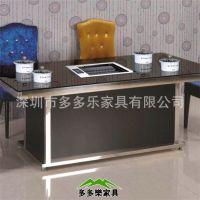 钢化玻璃烧烤桌 韩式无烟自助火锅烧烤一体桌 玻璃钢涮涮烧烤餐桌