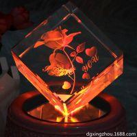 激光内雕玫瑰花创意生日礼物水晶工艺品雕刻加工定制