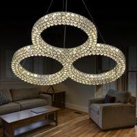 海盟新品水晶灯现代简约卧室灯创意客厅灯餐厅灯具灯饰圆形LED吊灯