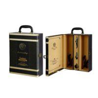 供应金边双支皮盒(酒盒现货,酒桶,木箱,皮盒,酒具)