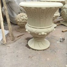砂岩杯形花钵人造石浮雕壁画羊头欧式花盆玻璃钢仿陶罐花瓶