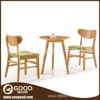 厂家直销 咖啡厅酒店造型实木餐桌椅