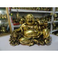开光纯铜弥勒佛像 金蟾元宝葫芦大肚佛铜像