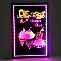索彩HT-WDK6040精品钢化玻璃led荧光板广告写字板 荧光屏 发光黑板