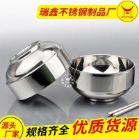 斗牛士批发不锈钢中式双层碗韩式家用碗隔热防烫