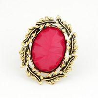 欧美时尚 高档复古枝叶镶嵌宝石开口戒指戒环戒环饰品