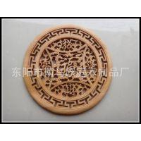 东阳香樟木雕刻挂件 仿古中式家居装饰 木质圆壁挂80cm招财进宝福